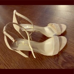 Lulus beige ankle strap heels